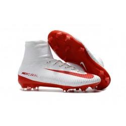 Nuevos Nike Mercurial Superfly V FG Zapatillas de Fútbol Blanco Rojo