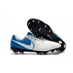 Nike Tiempo Legend VII FG ACC Zapatos de Futbol - Blanco Azul