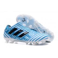 Nuevas Botas de Fubol Adidas Nemeziz Messi 17+ 360Agility FG Azul Blanco Negro