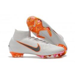 Botas de fútbol Nike Mercurial Superfly 6 Elite para adultos Blanco Naranja Gris