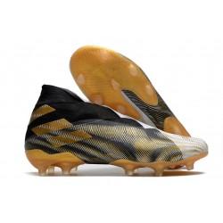 adidas Zapatos de Fútbol Nemeziz 19+ FG -Blanco Dorado Metalizado Negro