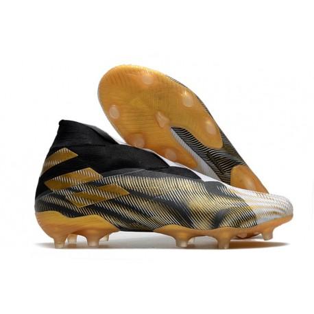 adidas Zapato de Fútbol Nemeziz 19+ FG -Blanco Dorado Metalizado Negro