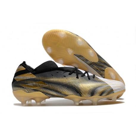 Zapato de fútbol adidas Nemeziz 19.1 FG Blanco Dorado Metalizado Negro