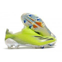 Botas de Fútbol adidas X Ghosted + FG Amarillo Solar Negro Azul Royal