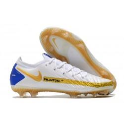 Bota de Futbol Nike Phantom GT Elite FG Blanco Oro Azul