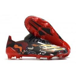adidas X Ghosted.1 FG Zapatillas de fútbol Hombre Negro Rojo Oro