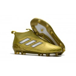 Adidas ACE 17+ Purecontrol Botas de fútbol de tierra firme Oro Blanco