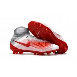Nike Magista Obra II FG ACC Hombres Botas de Fútbo - Blanco Rojo