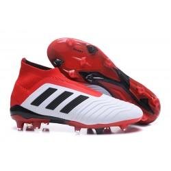 Bota de Fútbol para Hombre Adidas Predator 18+ FG - Blanco Rojo Negro