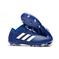 adidas Nemeziz Messi 18.1 FG Bota de Fútbol Copa Mundial - Azul Blanco