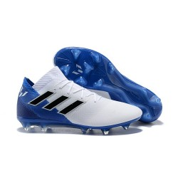 adidas Nemeziz Messi 18.1 FG Bota de Fútbol Copa Mundial - Blanco Azul Negro