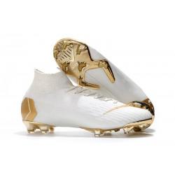 Nike Mercurial Superfly VI Elite FG Tacos de Futbol - Blanco Oro