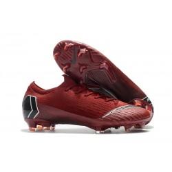 Nike Mercurial Vapor 12 Elite FG Tacos de Futbol - Rojo Negro