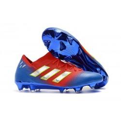 adidas Nemeziz Messi 18.1 FG Bota de Fútbol Copa Mundial - Rojo Azul Argento