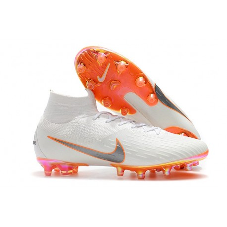 Bota Nike Mercurial Superfly VI Elite AG-Pro Blanco Naranja
