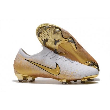 Nike Mercurial Vapor 12 Elite FG Botas de Futbol Blanco Oro
