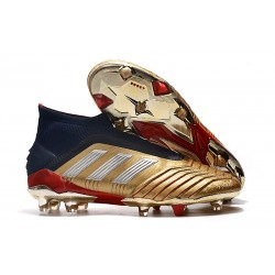 Botas de fútbol adidas PREDATOR 19+ FG - Oro Plata Rojo