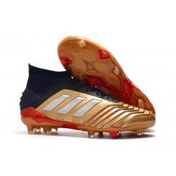 Botas y Zapatillas de Fútbol adidas Predator 19.1 FG - Oro Plata Rojo