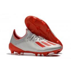 Tacos de Futbol adidas X 19.1 FG Plata Rojo