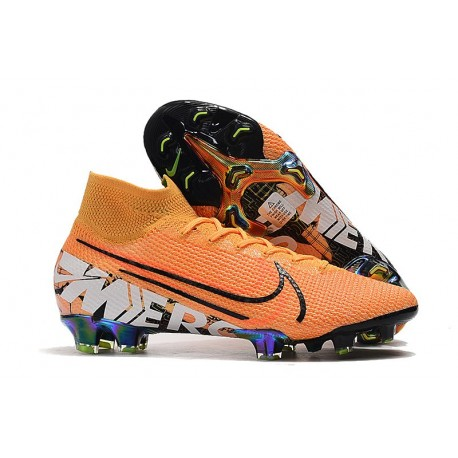 Botas Nike Mercurial Superfly 7 Elite FG Naranja Blanco Negro