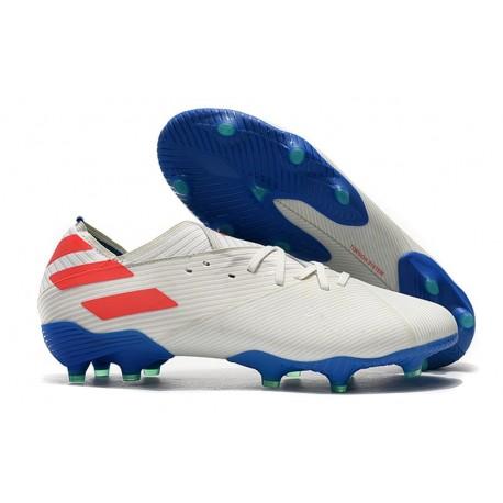 Zapatos de fútbol adidas Nemeziz Messi 19.1 FG Blanco Rojo Azul