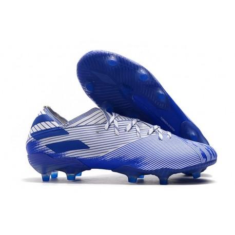 Zapatos de fútbol adidas Nemeziz Messi 19.1 FG Azul Blanco