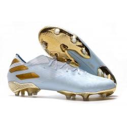 Zapatos de fútbol adidas Nemeziz Messi 19.1 FG Dorado metalizado Blanco
