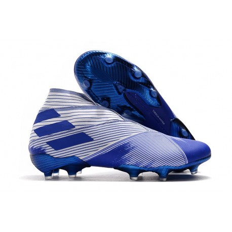 Bota de Fútbol adidas Nemeziz 19+ FG Hombres Azul Blanco