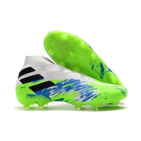 Bota de Fútbol adidas Nemeziz 19+ FG Hombres Blanco Verde Negro