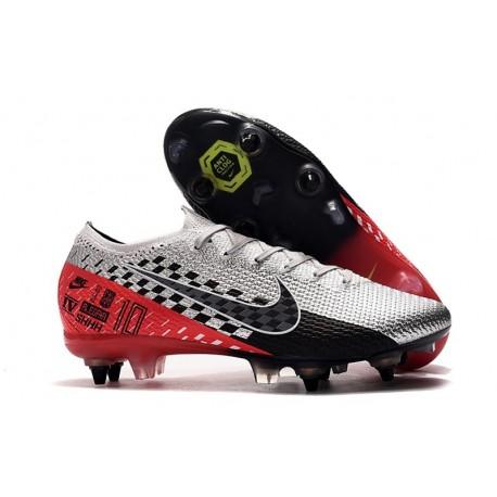Nike Mercurial Vapor 13 Elite SG-Pro Neymar Cromado Negro Rojo Platino