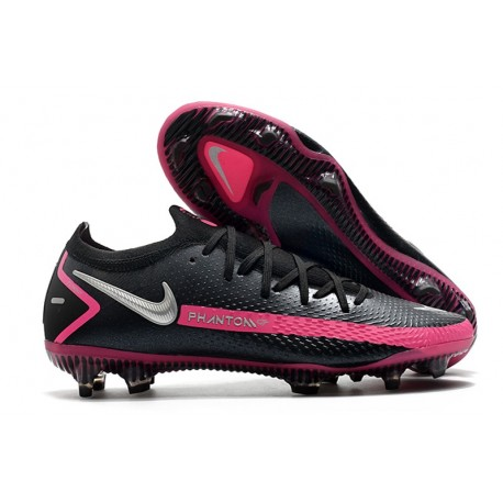 Botas de Fútbol Nike Phantom GT Elite FG Negro Plateado Explosión Rosa